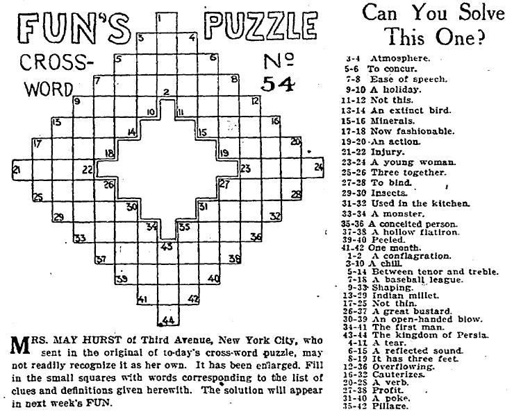 Crossword Puzzle Plain Dealer Newspaper Article 10 January 1915