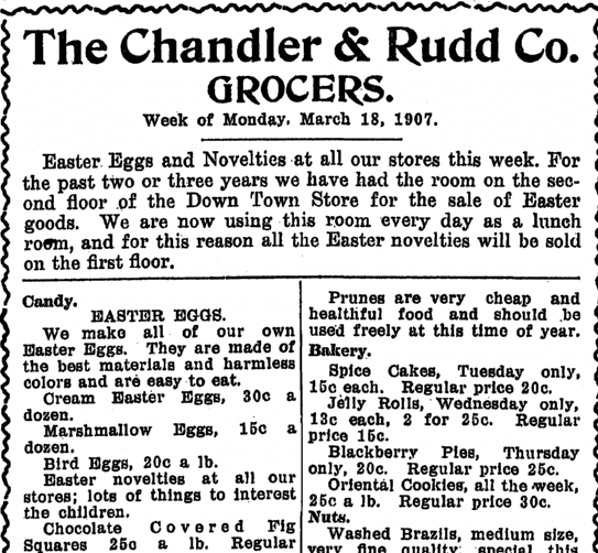 Easter ad for grocer Chandler and Rudd, Plain Dealer newspaper article 18 March 1907