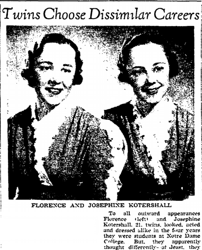 article about the twins Florence and Josephine Kotershall, Plain Dealer newspaper article 7 June 1937