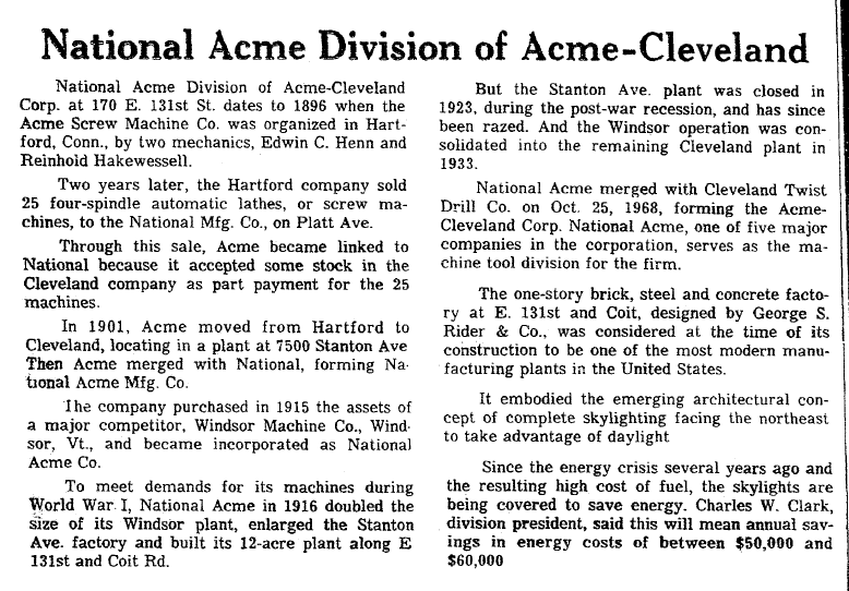 National Acme Division of Acme-Cleveland, Plain Dealer newspaper article 19 July 1978