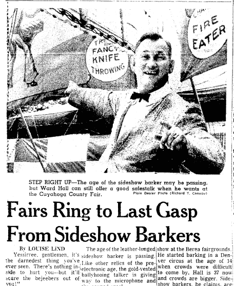 article about the sideshow barkers at the Cuyahoga County Fair in Ohio, Plain Dealer newspaper article 18 August 1967