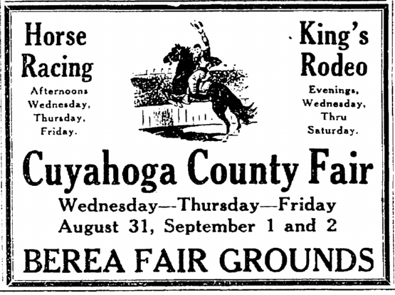 ad for the Cuyahoga County Fair in Ohio, Plain Dealer newspaper advertisement 28 August 1927