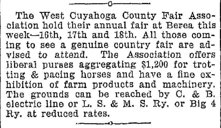 article about the West Cuyahoga County Fair in Ohio, Plain Dealer newspaper article 16 September 1896