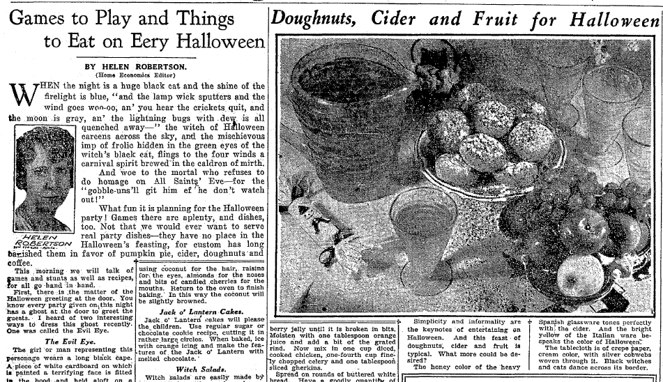 Halloween recipes, Plain Dealer newspaper article 26 October 1930