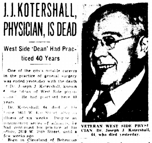 obituary for Dr. Joseph Kotershall, Plain Dealer newspaper article 11 December 1945