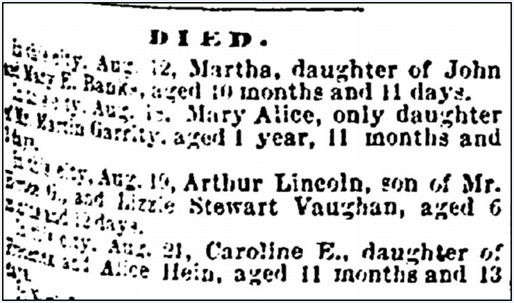 children's obituaries, Portsmouth Journal of Literature and Politics newspaper article 28 August 1875
