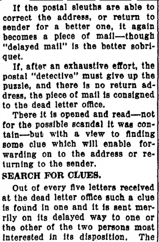 "article about the post office's ""dead letter office,"" Repository newspaper article 31 May 1925"