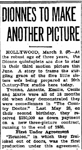 article about the Dionne quintuplets, Riverside Daily Press newspaper article 2 March 1937
