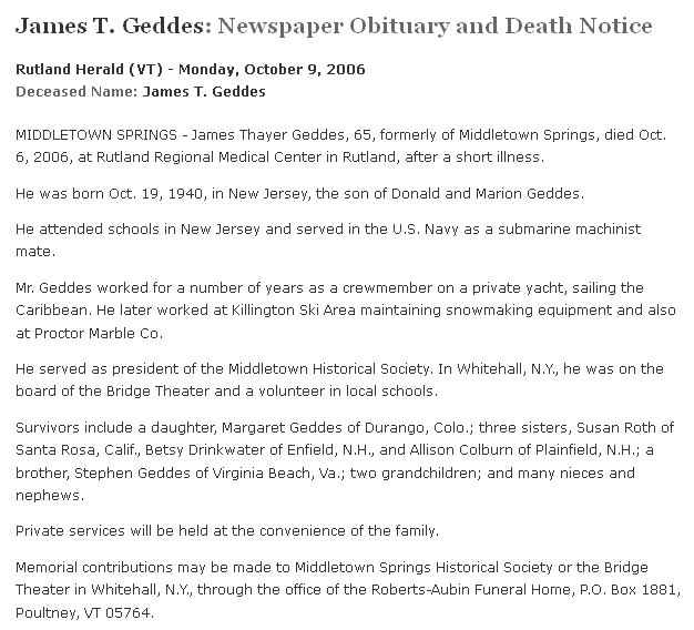 obituary for James T. Geddes, Rutland Herald newspaper article 9 October 2006