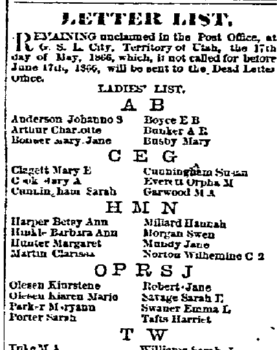 unclaimed mail list, Salt Lake Daily Telegraph newspaper article 17 May 1866
