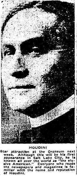 photo of the magician Harry Houdini, Salt Lake Telegram newspaper article 16 December 1915
