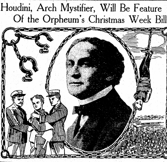 article about the magician Harry Houdini, Salt Lake Telegram newspaper article 19 December 1915