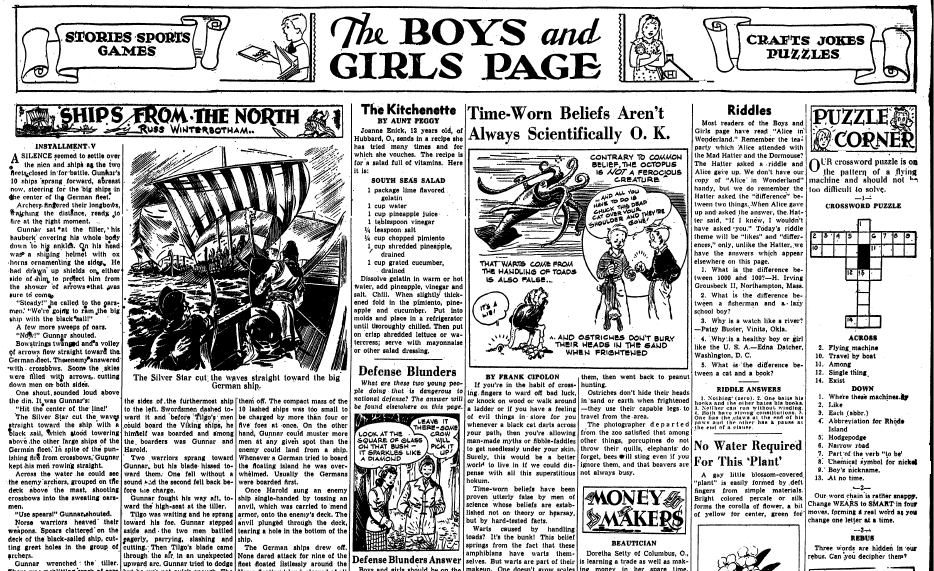 The Boys and Girls Page, Springfield Republican newspaper article 19 March 1944