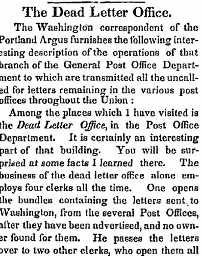 "article about the post office's ""dead letter office,"" St. Albans Messenger newspaper article 29 April 1846"