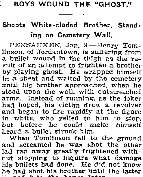 "Boy Wounds the ""Ghost,"" Trenton Evening Times newspaper article 8 January 1908"