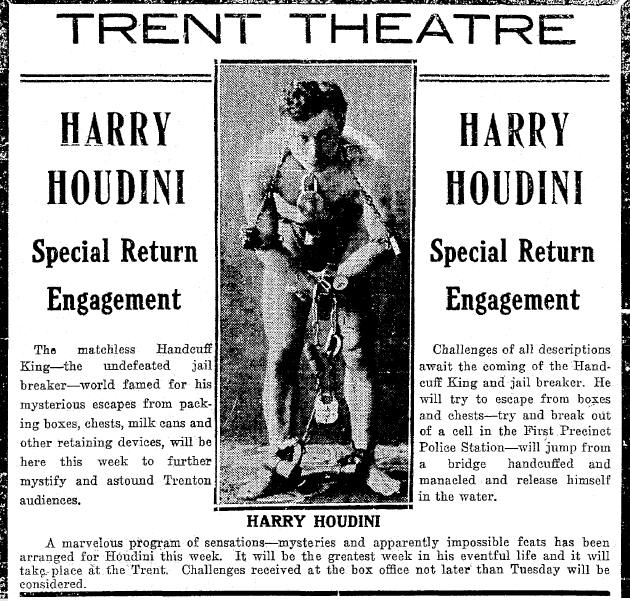 article about the magician Harry Houdini, Trenton Evening Times newspaper article 10 March 1912