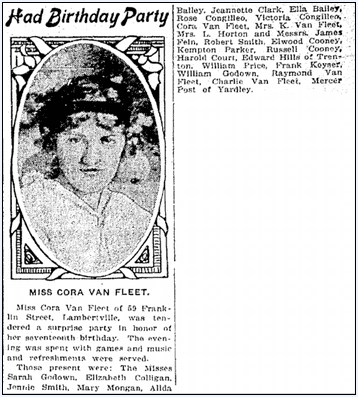 article about Cora Van Fleet's birthday, Trenton Evening Times newspaper article 1 November 1914
