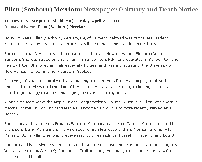 obituary for Ellen Merriam, Tri-Town Transcript newspaper article 23 April 2010