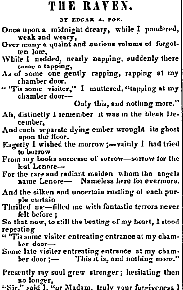 "poem ""The Raven"" by Edgar Allan Poe, Vermont Phoenix newspaper article 28 February 1845"