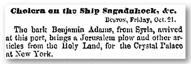 "article about the ship ""Benjamin Adams,"" Albany Evening Journal newspaper article 22 October 1853"