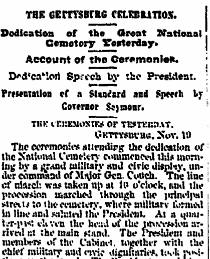 article about President Abraham Lincoln delivering the Gettysburg Address, Albany Evening Journal newspaper article 20 November 1863
