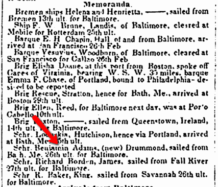 shipping news, American and Commercial Daily Advertiser newspaper article 1 April 1852