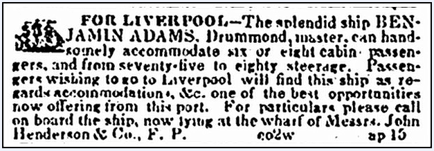 """article about the accomodations on the ship """"Benjamin Adams,"""" American and Commercial Daily Advertiser newspaper article 28 April 1852"""