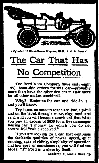 ad for a Ford Model T car, Baltimore American newspaper advertisement 21 February 1909