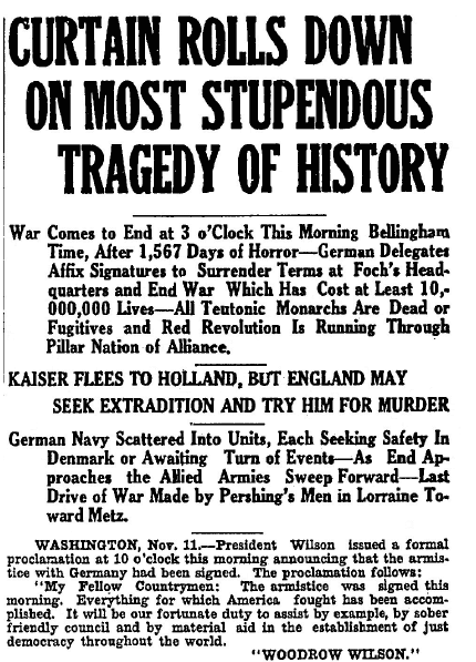 article about the armistice ending World War I, Bellingham Herald newspaper article 11 November 1918