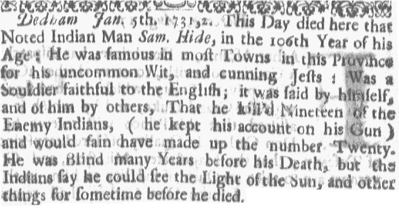 obituary for Sam Hide, Boston Gazette newspaper article 17 January 1732