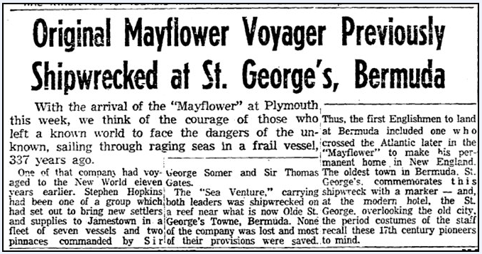Original Mayflower Voyager (Stephen Hopkins) Previously Shipwrecked at St. George's, Bermuda, Boston Herald newspaper article 16 June 1957