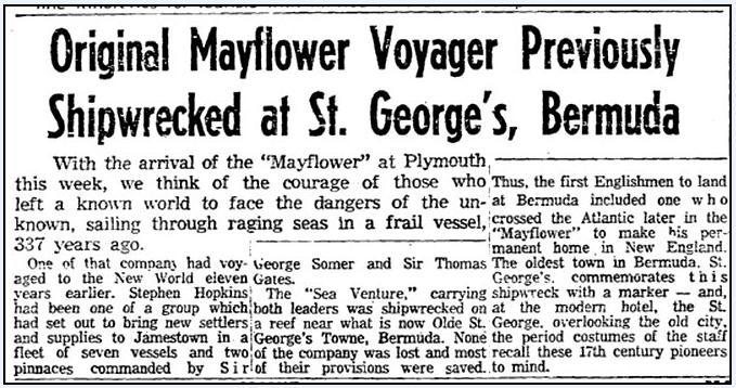 Original Mayflower Voyager (Stephen Hopkins) Previously Shipwrecked at St. George's, Bermuda, Boston Herald newspaper article 16 June 1957