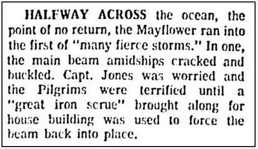 article about the Mayflower's cross-Atlantic trip in 1620, Boston Herald newspaper article 25 November 1970