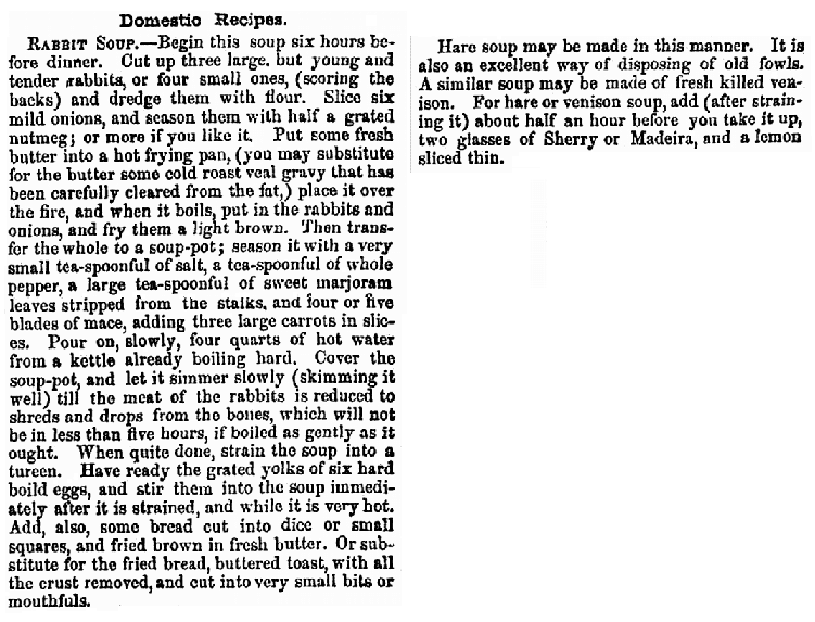 rabbit soup recipe, California Farmer and Journal of Useful Sciences newspaper article 28 June 1855
