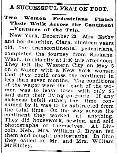 A Successful Feat on Foot (Helga and Clara Estby), Cleveland Leader newspaper article 24 December 1896