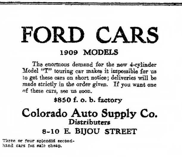 ad for Ford Model T cars, Colorado Springs Gazette newspaper advertisement 30 October 1908
