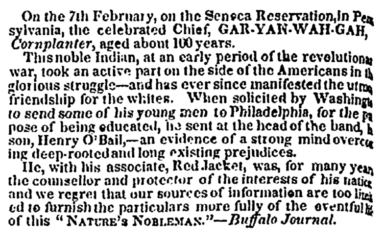 obituary for the Seneca Chief Cornplanter, Commercial Advertiser newspaper article 4 March 1837
