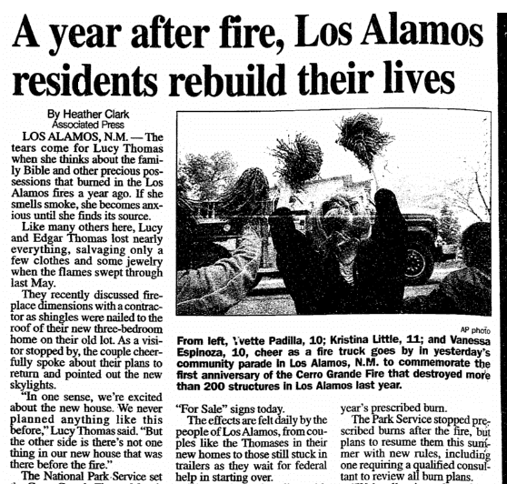 A Year after Fire, Los Alamos Residents Rebuild Their Lives, Daily Advocate newspaper article 6 May 2001