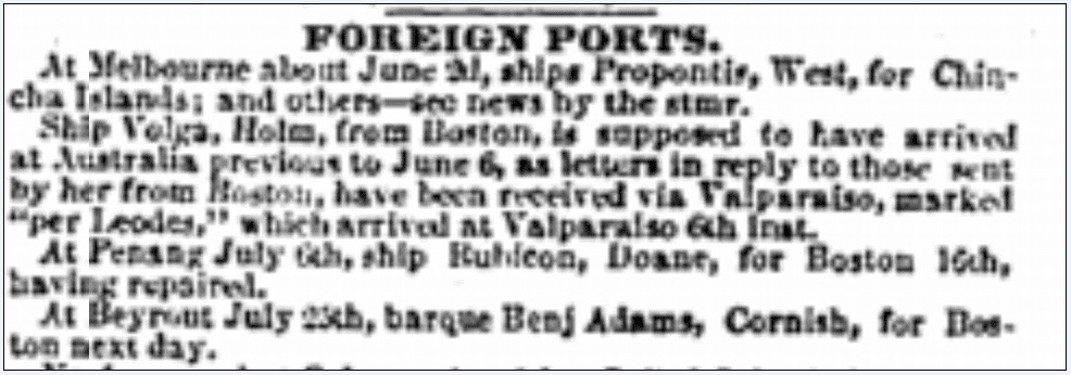 shipping news, Daily Atlas newspaper article 1 September 1853