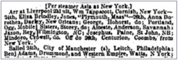 shipping news, Daily Atlas newspaper article 10 September 1853