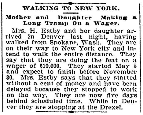 Walking to New York (Helga and Clara Estby), Denver Post newspaper article 4 September 1896