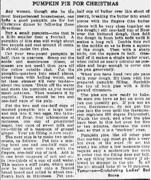 pumpkin pie recipe, Evening News newspaper article 20 December 1922