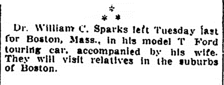 article about William Sparks touring in his Ford Model T car, Evening Star newspaper article 29 August 1909