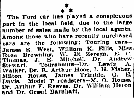 article listing local people who bought Ford Model T cars, Evening Star newspaper article 10 October 1909