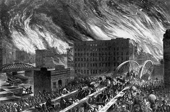 Iillustration of the Great Chicago Fire of 1871, by John R. Chapin, originally printed in Harper's Weekly, showing people running for their lives over the Randolph Street Bridge