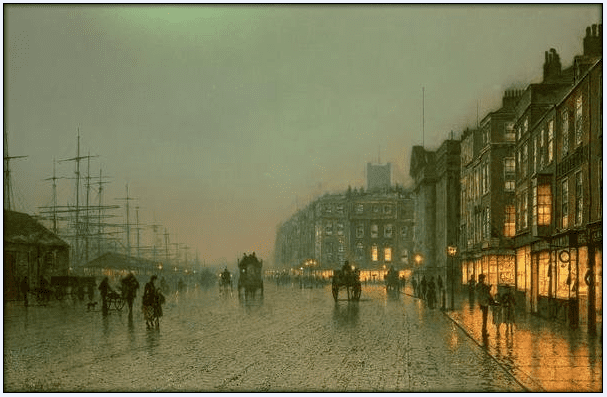"painting: ""Liverpool Docks from Wapping,"" 1870, by John Atkinson Grimshaw"