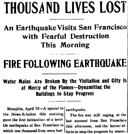 article about the San Francisco Earthquake and Fire of 1906, Jonesboro Evening Sun newspaper article 18 April 1906