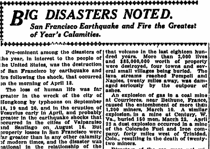 article about natural disasters, Kalamazoo Gazette newspaper article 1 February 1907