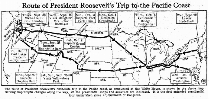 map showing President Franklin Delano Roosevelt's trip to the Pacific coast, Heraldo de Brownsville newspaper article 4 October 1937