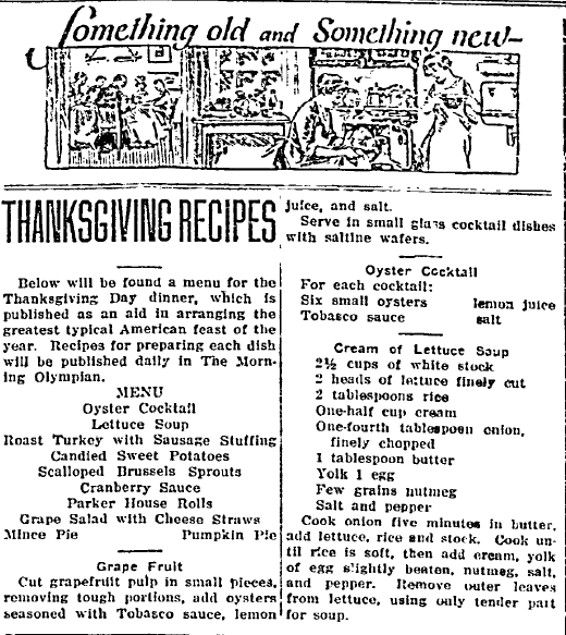 Thanksgiving Recipes, Morning Olympian newspaper article 19 November 1922